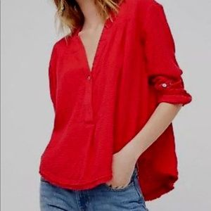 Free people red waffle knit